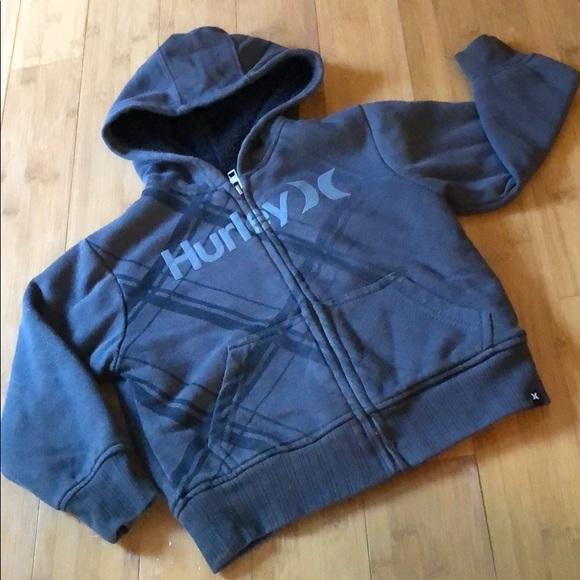 New Hurley boys zipper zip front navy blue sweatshirt hoodie jacket sz 2T or 3T